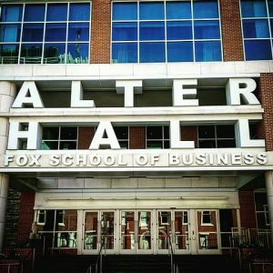 The main entrance to Alter Hall, an academic building at Temple University. Alter Hall is home to the Fox School of Business. Photo courtesy of Jrcla2